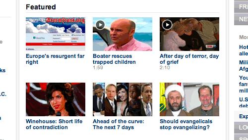 The featured section of the home page of CNN.com